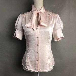 Banana Republic Silk Top Pale Pink Tie Neck Blouse